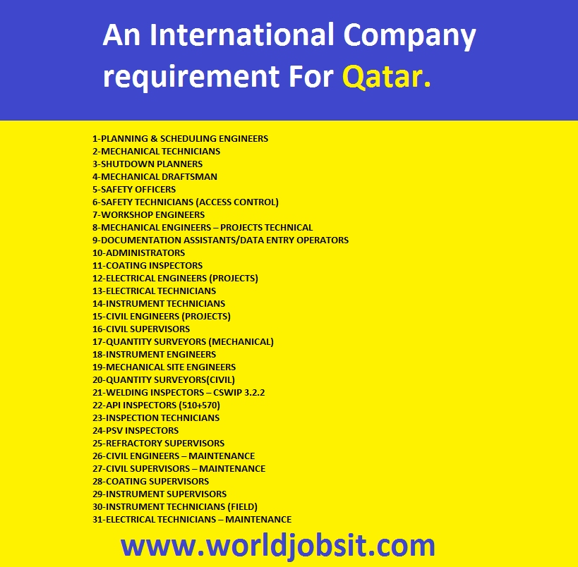 An International Company requires for their Oil & Gas Shutdown Project