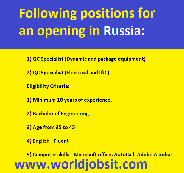Following positions for an opening in Russia: