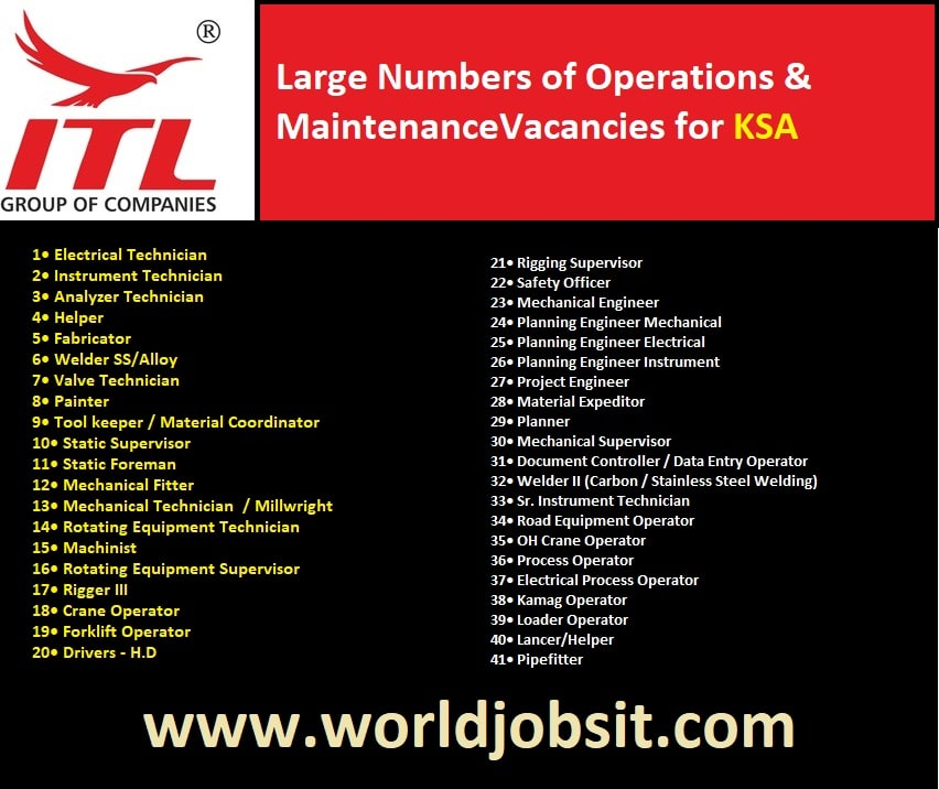 Large Numbers of Vacancies for KSA - Operations & Maintenance Departments.