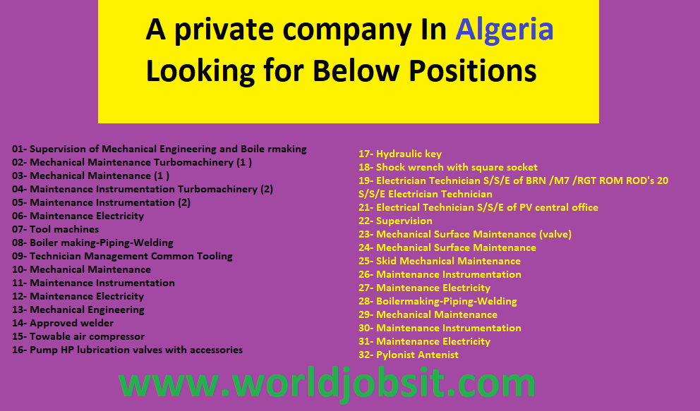 A private company In Algeria Looking for Below Positions