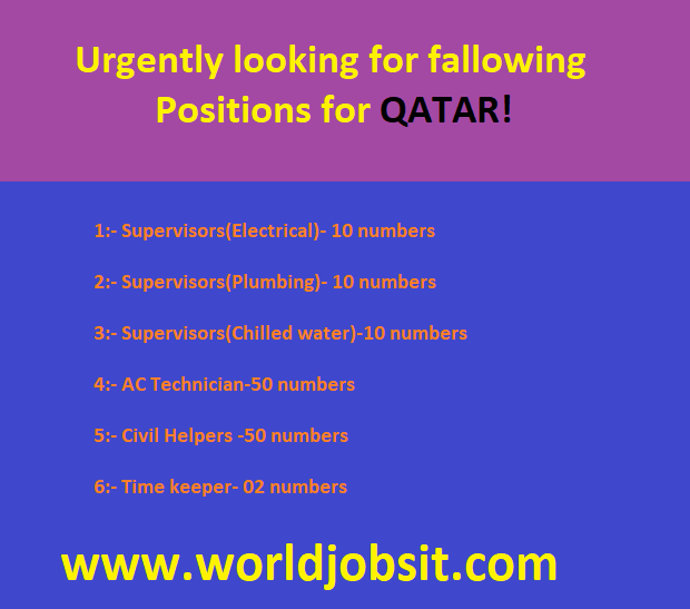 Urgently looking for fallowing Positions for QATAR!