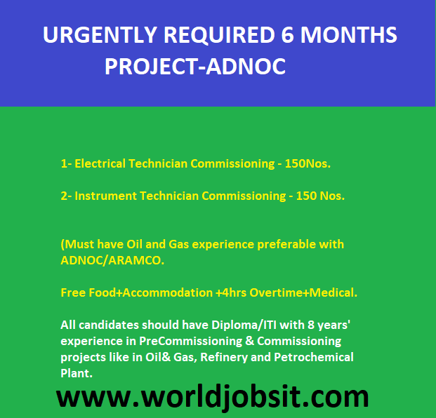 URGENTLY REQUIRED 6 MONTHS PROJECT-ADNOC
