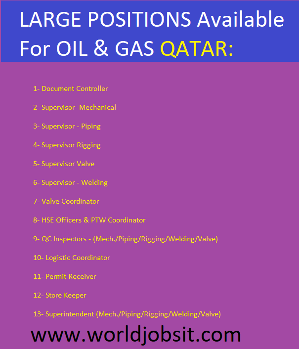 LARGE POSITIONS Available For OIL & GAS QATAR: