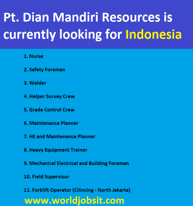 Pt. Dian Mandiri Resources is currently looking for: