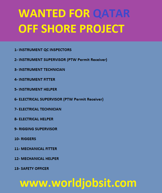 WANTED FOR QATAR OFF SHORE PROJECT