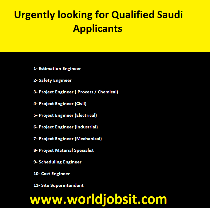 Urgently looking for Qualified Saudi Applicants