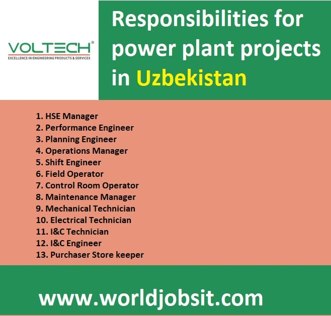 Responsibilities for power plant projects in Uzbekistan