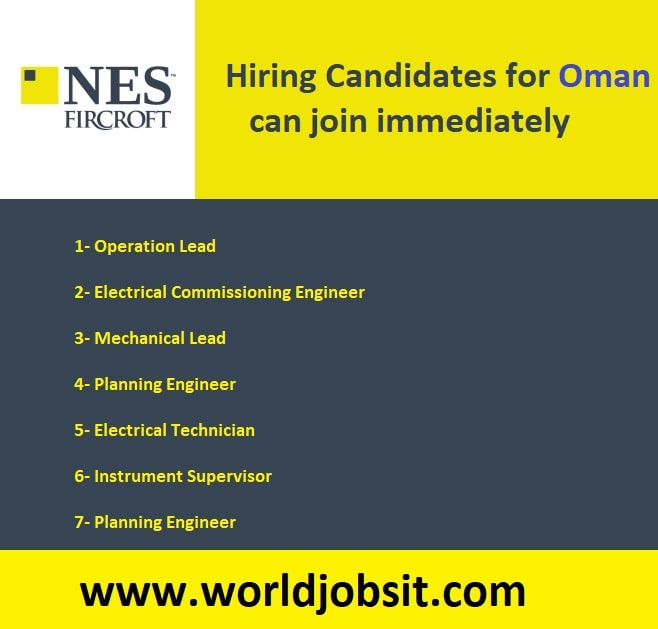 Hiring Candidates for Oman can join immediately