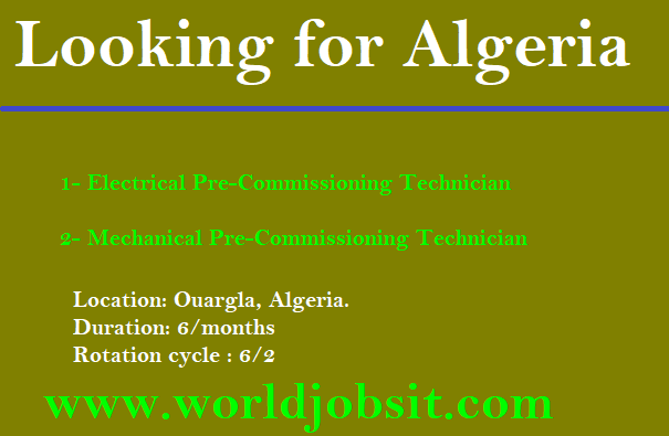 URGENT looking for the following profiles in O&G Sector in Algeria: