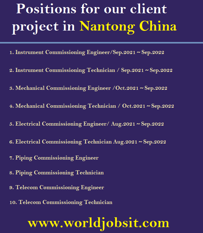Seeking for the below positions for our client project in Nantong.