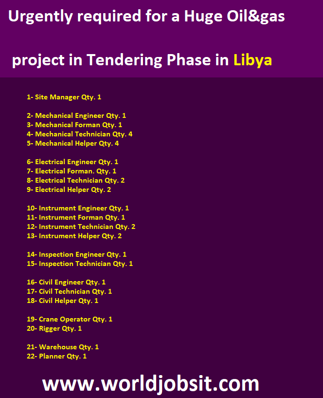 Urgently required for a Huge Oil&gas project in Tendering Phase in Libya 🇱🇾