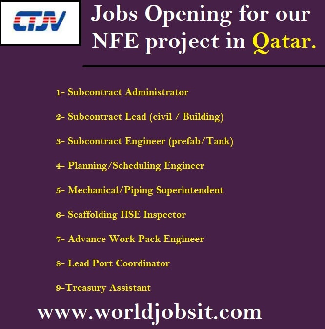 We have following Jobs Opening for our NFE project in Qatar.