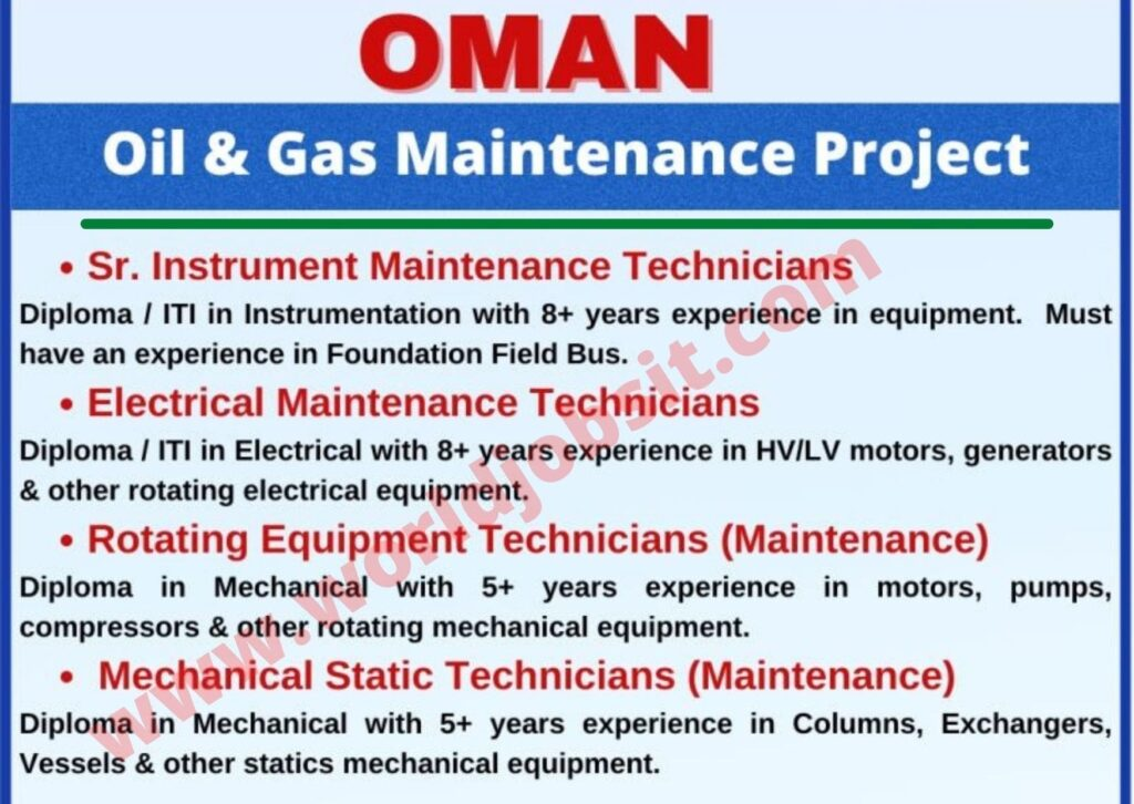 Required for Oil & Gas Maintenance Project In Oman.