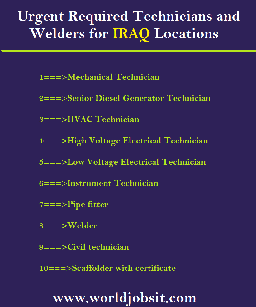 Urgent Required Technicians and Welders for IRAQ Locations